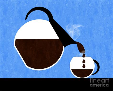 Design Duvet Cover Diner Coffee Pot And Cup Blue Pouring Digital Art By Andee
