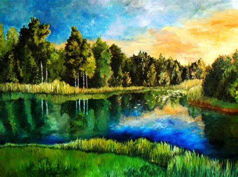 Landscape Paintings Estonian Landscape By Doodlewithgluegun On Deviantart
