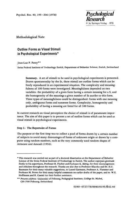 Psychology Research Template opinions on outline of psychology