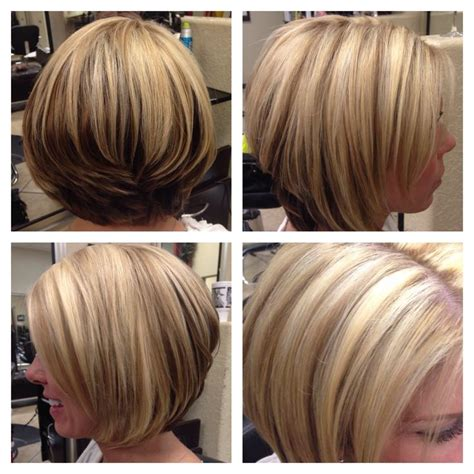 bob hair with high lights and lowlights growing out a stacked bob short hairstyle 2013