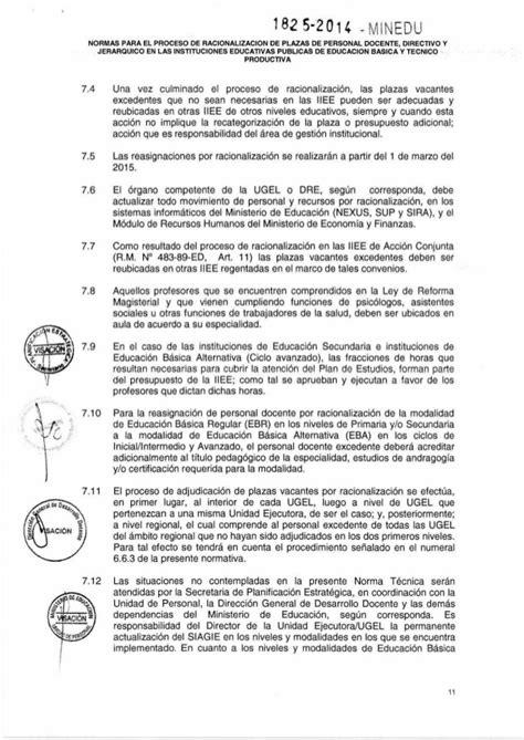 norma para proceso de encargatura de plazas de director normas para el proceso de racionalizacion 2014