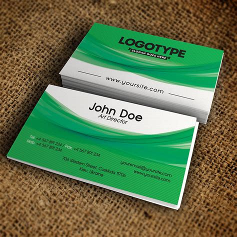 green business card templates psd corporate green business card free psd template