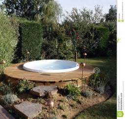 Small Patio Table Set Beautiful Outdoor Jacuzzi Royalty Free Stock Image Image