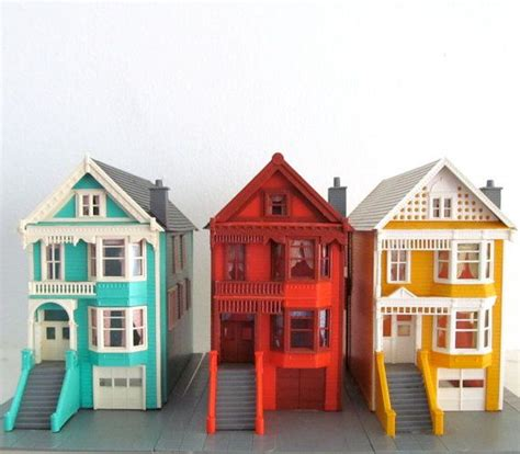 miniature homes models miniature row houses colorful painted lady san francisco
