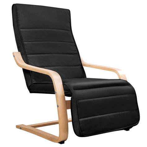 Black Fabric Recliner Chair by Birch Bentwood Adjustable Recliner Lounge Arm Chair W