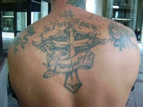 in loving memory cross tattoos in loving memory on back