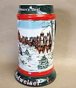 Budweiser holiday stein steins jugs mugs beer company budweiser