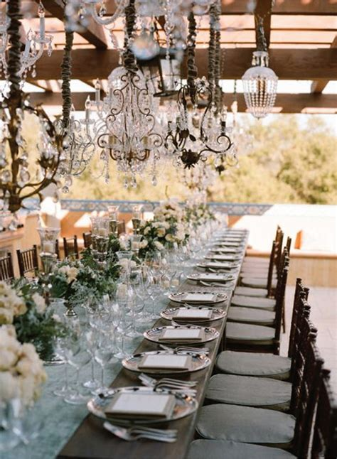 outdoor wedding reception decor outdoor wedding decorations chandeliers weddingelation