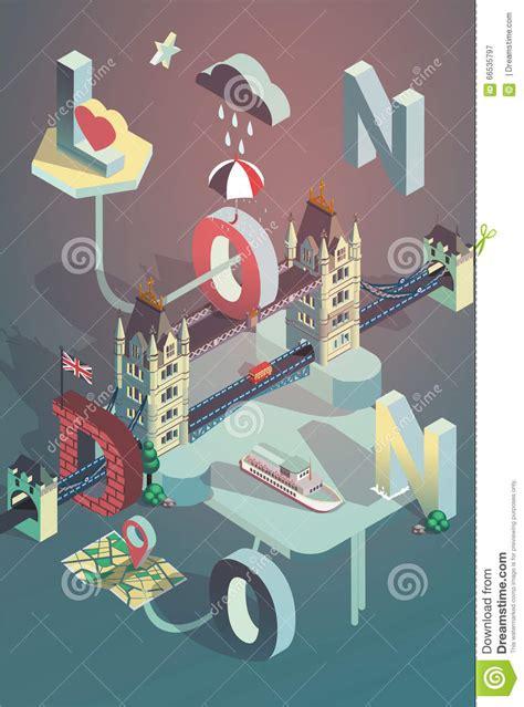 poster design london 3d isometric vector london city poster stock vector