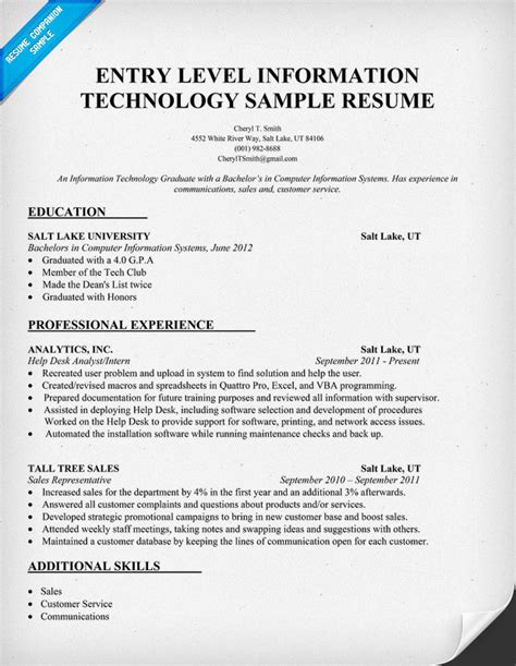 Information Technology Resume Template by Entry Level Information Technology Resume Sle Http