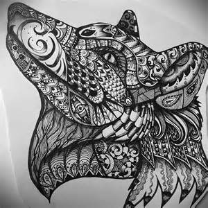 Wolf Zentangle Outline by Zentangle Fox Wolf Ink And Pencil Hayley Shaw Flickr