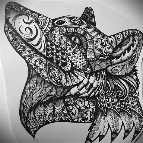 pattern drawing animals zentangle fox wolf ink and pencil hayley shaw flickr