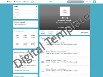 Twitter Template Social Media Lite Version By Ali Briggs Tpt Social Media Page Template