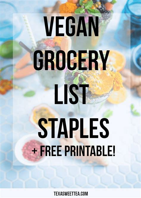 free printable vegan recipes vegan grocery list staples free printable checklist