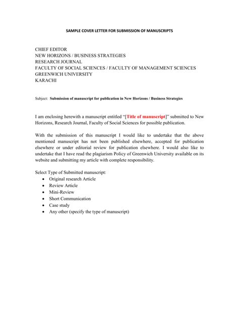 sample cover letter submission manuscript