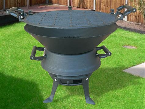 New Cast Iron Fire Pit Bbq Stand Square Brazier Patio Cast Iron Firepit