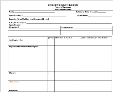 multiple intelligences lesson plan template plan template