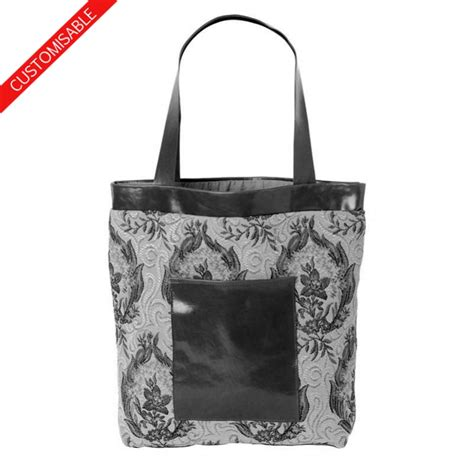 Handmade Fabric Tote Bags - fabric and leather tote bag handmade in