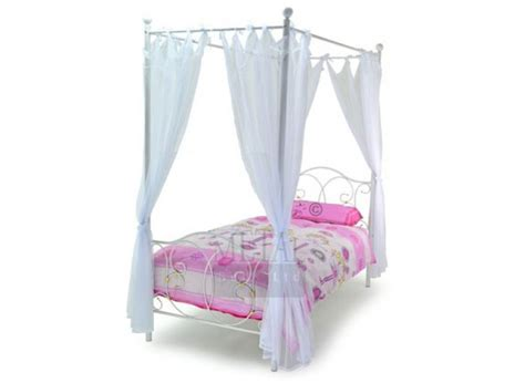Four Poster Single Bed Frame Metal Beds Ballet 3ft Single White Four Poster Metal Bed Frame By Metal Beds Ltd