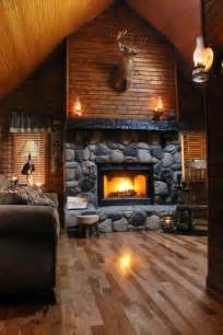Log Homes Interior Designs by Fireplace Of Rustic Cabin Cottage Or Lodge Wood Above