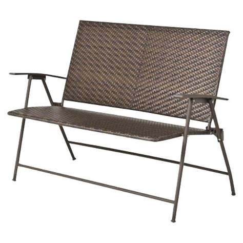 target outdoor bench threshold rolston wicker 45 quot patio folding bench target