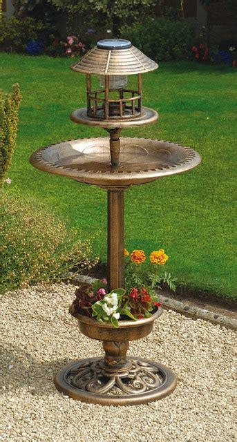 tulip resin bird bath and feeder with solar light and