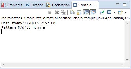 pattern matching for date in java java simpledateformat tolocalizedpattern method exle
