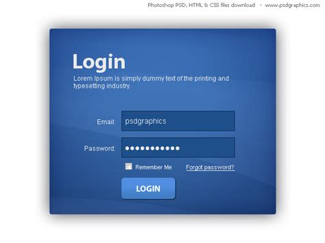 blue login box html and css with psd template psdgraphics