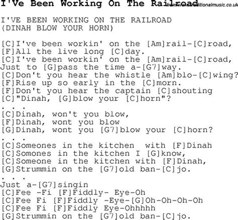printable lyrics to i ve been working on the railroad childrens songs and nursery rhymes lyrics with chords for