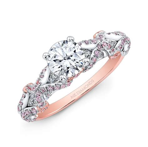 18k and white gold pink and white engagement ring