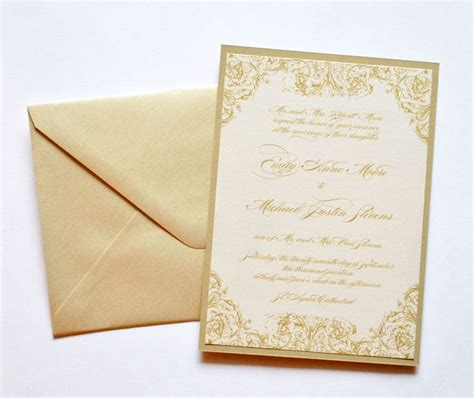 Gold Wedding Invitation Cards by Gold Wedding Invitations Gold And Ivory Wedding