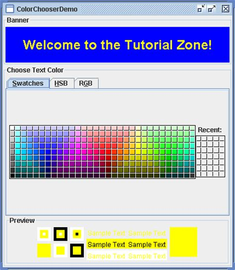 java color codes color chooser 171 swing jfc 171 java