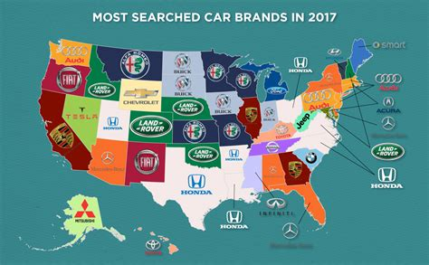 most popular car brand by state map the most searched car brand in each state info carnivore
