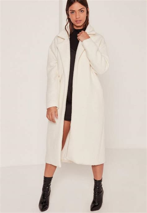 Black And White Coats From Debenhamsnow Where Is Winter by Textured Faux Wool Tailored Coat White Missguided