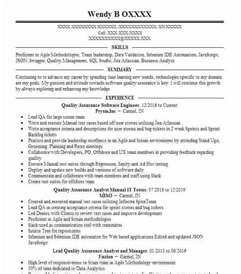 Quality Tester Resume