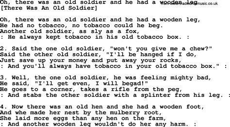 soldier song american song lyrics for oh there was an soldier and he had a wooden leg