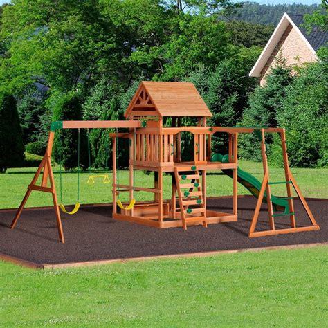 monticello wooden swing set backyard  kids backyard