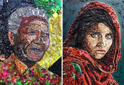 popular artwork artist re creates iconic portraits with thousands of found