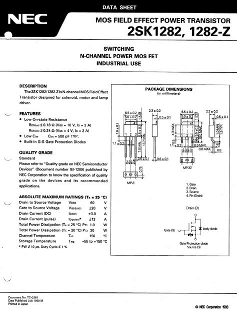 fet transistor part number 2sk1282 z datasheet pdf pinout n channel power mos fet