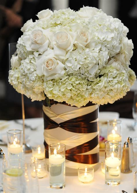 hydrangeas and roses garnished with brown and white