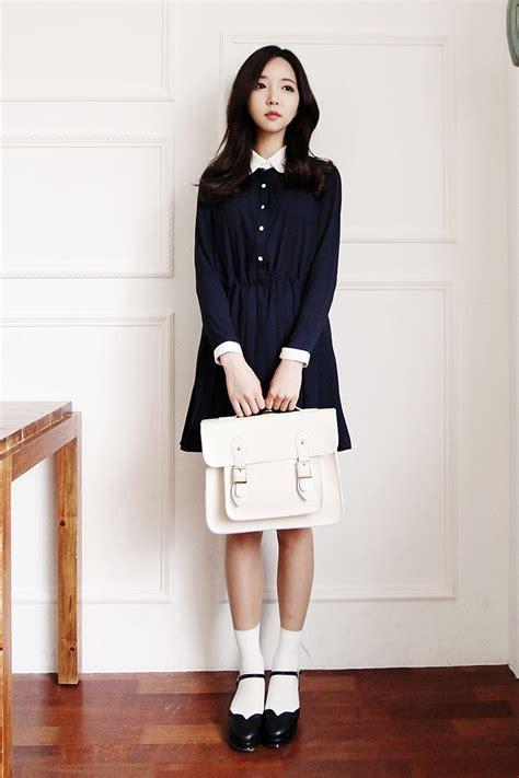 Wedges Fashion Korea 19 korean fashion sleeve navy blue dress white cambridge satchel black heels and white