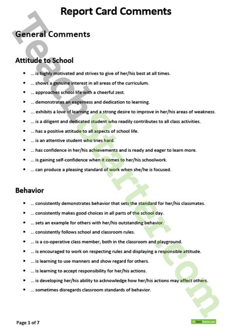 sle of comments for students report card report card comments teaching resource report comments