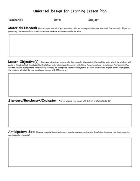 standard lesson plan template civics lesson plan templates florida standards preschool