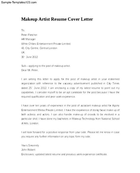 cover letter for artists makeup artist resume cover letter exle sle templates