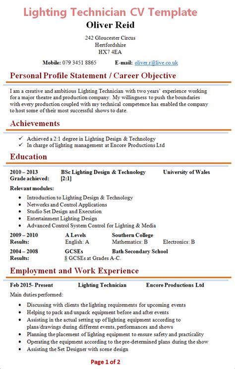 resume format templates for technician lighting technician cv template