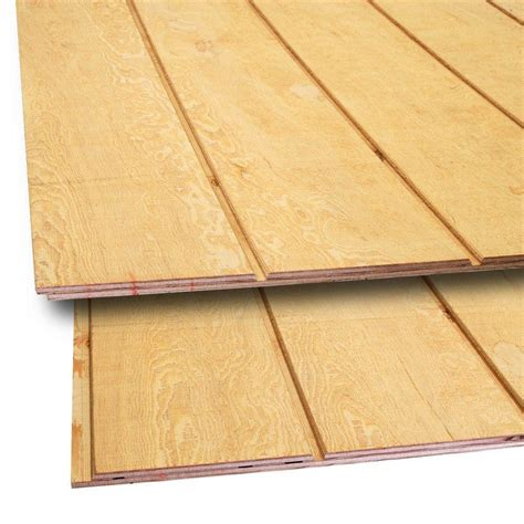 t1 11 siding 15 32 in x 4 ft x 8 ft t1 11 8 in on center fir plywood siding 398135 the home depot