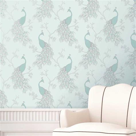Teal Wallpaper Interior Design by Duck Egg Blue Teal Wallpaper Owl Bird Peacock Scroll