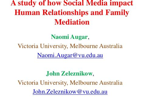 thesis statement about social media and relationships 2014 john zeleznikow a study of how social media impact