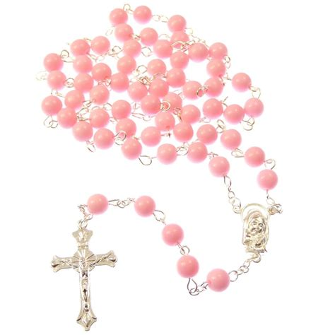 pink rosary large pink catholic rosary jesus center