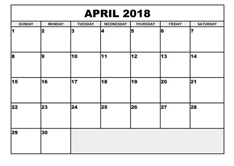 excel calendar 2018 template free april 2018 printable calendar excel printable calendar